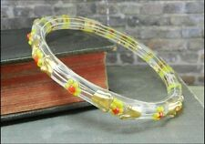 Vintage Hand Painted Yellow Flowers Glass Bangle Bracelet