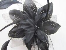Black FASCINATOR | Flower Net Ribbon | Feather Tendrils | Comb | Wedding (4A)