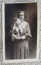 VINTAGE DREAMLIKE SURREAL  PHOTO PORTRAIT OF A WOMAN & HER NICE TERRIER DOG