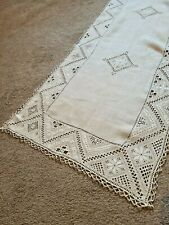 More details for vintage table runner lace embroidered embroidery table linen 52
