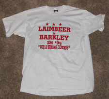 """LAIMBEER & BARKLEY IN '96 """"FOR A STRONG DEFENSE"""" BASKETBALL CAMPAIGN T-SHIRT"""
