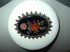 Vintage SARAH (COVENTRY) Canada Silvertone Painted Enamel Flower Brooch Pin