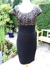 M&Co Dress Black & Tan Brown animal print top stretch fabric bodycon size 12