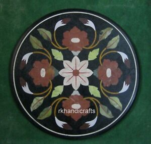 24 Inches Exclusive Inlay Art Coffee Table Top Round Shape Sofa Table Home Decor