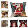 "Merry Christmas Pillow Case Claus 18""Xmas Linen Santa Cushion Cover Home Decor"
