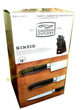Chicago Cutlery Kinzie 14 Piece Wooden Block Set Stainless Steel Knife Knives