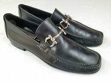 SALVATORE FERRAGAMO Mens Horsebit Black Leather Loafer Shoes Size 8 M SE