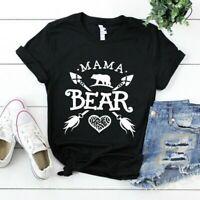 Women Mama Bear Printed Short Sleeve Blouse Top Streetwear Tee Graphics T-Shirt