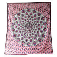 Colcha plumas pavo real rosa burdeos 230x210cm India manta algodón decoración