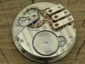Antique Pocket Watch Movement Illinois Railroad Dispatcher Extra Gr 183 16s 15j