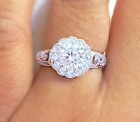 925 Sterling Silver Brilliant Cut Dazzling Filigree Wedding Engagement Ring