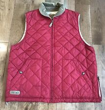 Womens Ralph Lauren Dry Goods Red Quilted Vest Brown Corduroy Horse Lining M