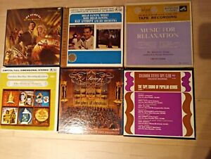"""6 PRERECORDED 7"""" REEL-TO-REEL TAPES. Christmas, Dancing, Marches"""