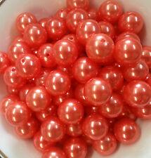 100pcs 20mm Orange Pearl beads Chunky Bubblegum Beads US Seller