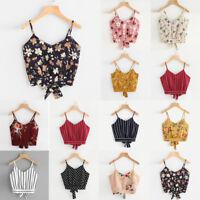Women's Sexy V Neck Floral Print Short Crop Tops Cami Vest Camisole Blouse Shirt