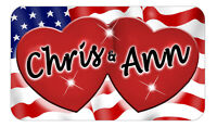 "Hearts USA Flag Decal Bumper Sticker 3.5"" x 6"" Gifts Name Text Any Colors"
