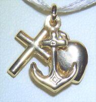 FAITH HOPE CHARITY CHARM PENDANT 9CT 9 CARAT YELLOW GOLD  HEART ANCHOR CROSS