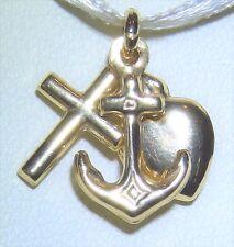 9CT Oro Giallo Fede Speranza Carità Cuore Pendente Charm Croce di ancoraggio