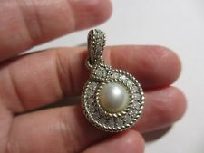 GORGEOUS Judith Ripka Sterling Cultured Mabe Pearl & CZ Enhancer Pendant-NO RES!