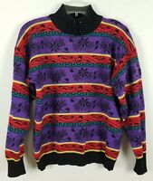 DEMETRE Vintage Wool long sleeved multi-colored Floral Ladies Sweater size L