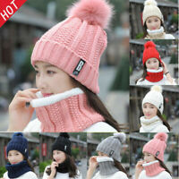 Women Winter Beanie Pompoms Hat 2pcs Sets Thick Neck Cable Scarf Knitted Caps