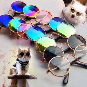 Funny Cute Cat Small Dog Sunglasses Classic Retro Circular Eye-wear Pets Cosplay