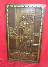 Antique Courthouse Cast Relief Bronze Plaque Representative To Assembly Lincoln