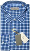 $345 NEW CANALI BLUE & WHITE GRID CHECK DRESS SHIRT MADE IN ITALY EU 42 16.5
