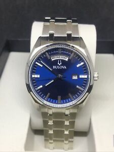 Bulova Men's Silver Tone Blue Dial Day/Date Bracelet Watch 96C125 #B66