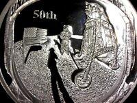 Moneda conmemorativa 50 aniversario Apollo aterrizaje en la luna bandera plata