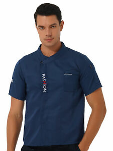 Men Chef Jacket Coat Uniform Kitchen Short Sleeve Cooker Jacket Work Restaurant