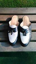 Vtg 90s Loafer Blue and White Tassel Slides