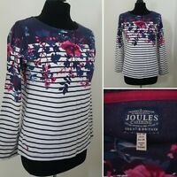 Ladies JOULES Striped Floral Top Sz 10 Blue Pink White Casual Cotton Long Sleeve
