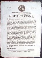 1800 BOLOGNA BANDO REPUBBLICA CISALPINA CREDITI CORPORAZIONI RELIGIOSE SOPPRESSE
