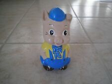 Pig in blue pants and yellow shirt, ceramic Piggy bank