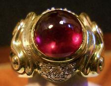 Estate Rare Cabochon Pink Tourmaline & Diamond 14K Gold  Ring  Size 5 1/2