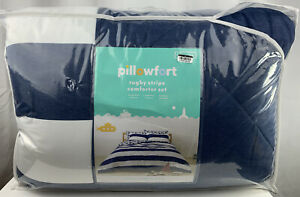 Pillowfort White/Navy Rugby Stripe 3pc Comforter Set Full/Queen Size NEW