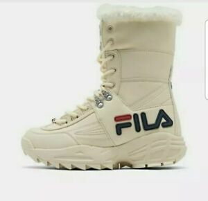 NEW WOMEN FILA DISRUPTOR BOOT FUR OFF WHITE IVORY LACE UP FUR LINING BOOTS SZ 10