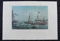Louis Le Breton lithograph L'Aigle Cherbourg France Imperial Yacht Napolean III