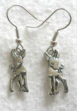 Dangle earrings - silver colour baby deer
