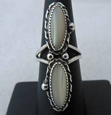 MASSIVE ESTATE STERLING SILVER MOTHER OF PEARL HAND MADE RING BAND SIZE 7