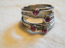 Beautiful Silver Tone Ring Band Pink Rhinestones Size 9 CUTE