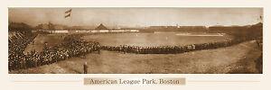 VINTAGE AMERICAN LEAGUE BOSTON PANORAMIC PRINT 11.750 X 36  W/DOUBLE FAUX MATTE