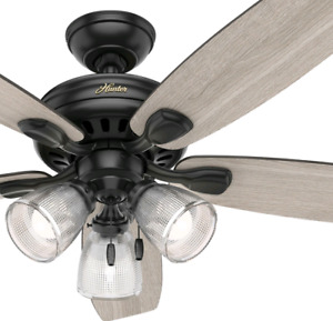 Hunter Fan in Matte Black with LED Light 52 inch Contemporary Ceiling