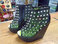 ABBEY DAWN by Avril Lavigne Studded Heels (Black w/ Green) Euro 37 US sz 6
