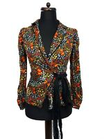 DOLCE & GABBANA Pure Silk Floral Crinkle Wrap Shirt Top Blouse Size 26 / 40