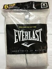 Mens Over The Calf Tube Socks 6 Pair Gray Socks Size 10-13 Everlast Brand SALE