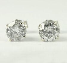 Diamond stud earrings 14K white gold 2 round brilliant 1.00CT large studs 4prong