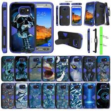 For Samsung Galaxy S7 Active Case Holster Belt Clip Kickstand Armor Blue Cover