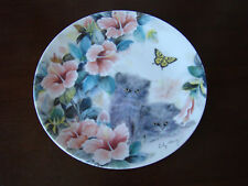 Collector Cat Plate Summer Surprise Gray Kittens and Flowers by Lily Chang 20165